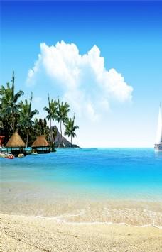 海边风景椰树帆船玄关