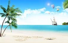 海边风景椰树沙滩背景墙