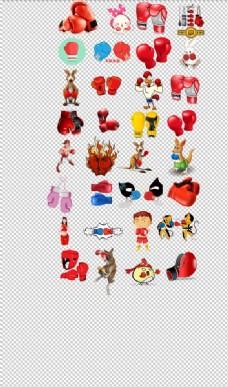 红色拳击手套卡通动物拳击手拳击