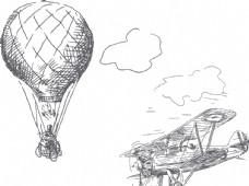 热气球与飞机