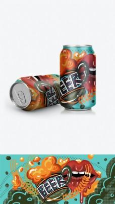 啤酒易拉罐包装pop卡通涂鸦炫彩绿色波普