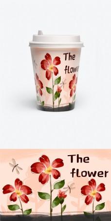 手绘咖啡杯包装之中国风大气水墨风格花朵杯
