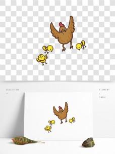 手绘母鸡和小鸡动物设计