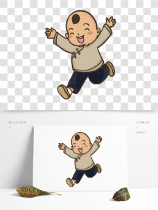 彩绘一个开心奔跑的小男孩