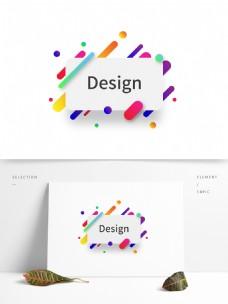 抽象彩色渐变背景标签线条素材