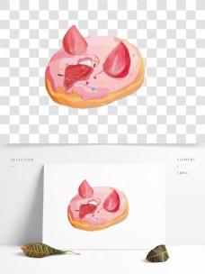 粉色甜美甜甜圈美食元素