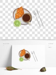 美味面包咖啡早餐图案元素