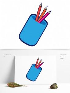 简约卡通手绘铅笔桶模板