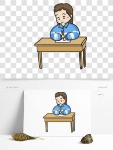 手绘上课的高中生漫画人物