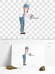 手拿喷壶的女孩图案元素