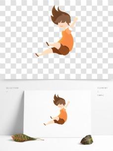 卡通可爱一个下坠的女孩设计