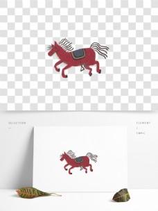 奔跑的马儿图案元素