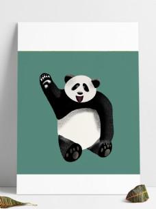 卡通熊猫快乐元素设计