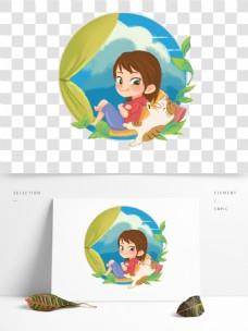 儿童节女孩与猫休闲幻想插画系列02