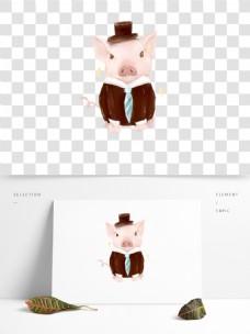 手绘穿西服的小猪崽可爱半写实小清新可商用