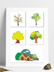 卡通树卡通房子矢量树小树大树抽象创意树