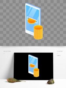 2.5D风格手机理财元素