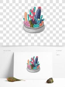 彩绘一盆多肉植物设计元素