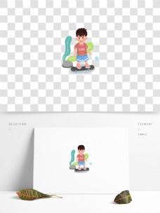 滑板少年插画元素