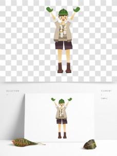 复古肌理一个带着绿帽的男孩