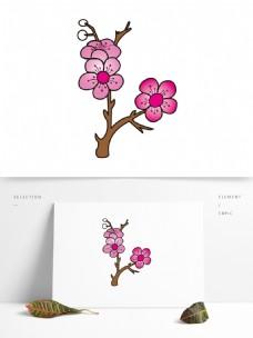矢量手绘梅花图案