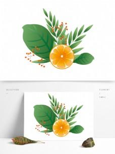 元素柠檬与绿叶红果果