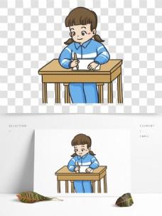 手绘高考写作业的女孩