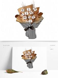 棉花牛皮纸条纹纸花束