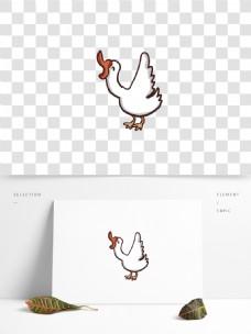 手绘一只鸣叫的公鸡设计