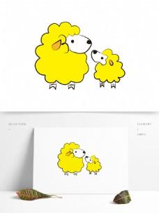 矢量卡通绵羊装饰图案
