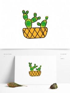 矢量植物盆栽图案