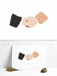 卡通握手男女拉手手绘