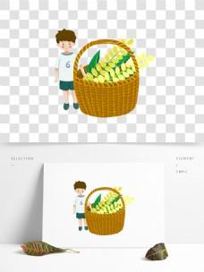 卡通篮子里的麦穗和男孩图案元素