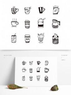 手绘黑白咖啡icon