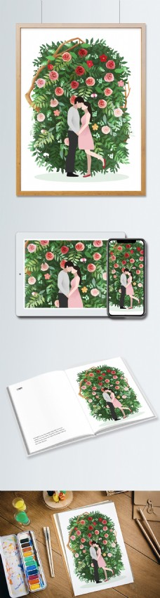 原创插画花与情人