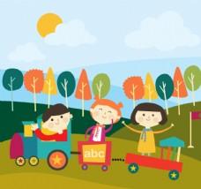 卡通坐玩具火车的3个儿童