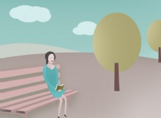 公园女子看书