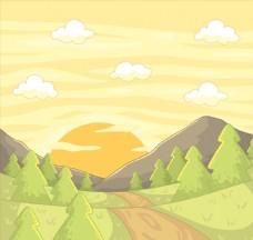 彩绘山区夕阳风景