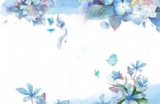 花鸟蝴蝶淡雅水彩背景