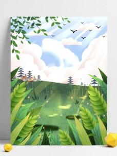 手绘蓝天下的树丛背景素材