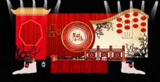 中国风中式婚礼迎宾区签到效果图