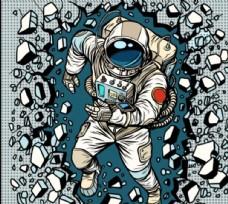 手绘太空人图案 破墙