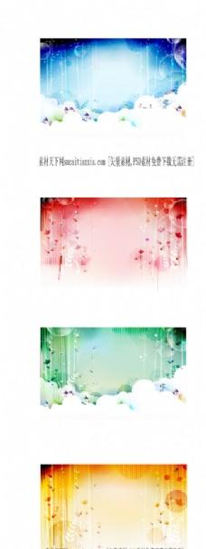 4款花卉装饰背景底图矢量素材