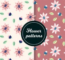 2款粉色花朵无缝背景矢量图