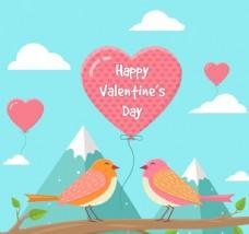 创意情人节情侣鸟和气球矢量素材