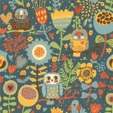 猫头鹰花卉动物园卡通设计