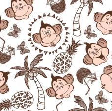猴子菠萝 椰树卡通设计