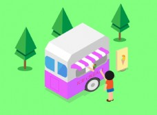 冰淇淋车卡通插画