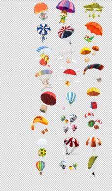 降落伞热气球手绘卡通可爱降落伞