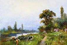 油画 树林 森林 桥 河流 河